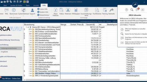 Screenshot ORCA AVA Leistungsverzeichnisse