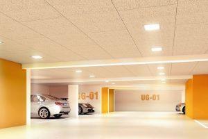 Holzwolle-Dämmplatten mit integrierter Beleuchtung. Bild: Knauf Insulation