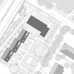 Die Neubauten schaffen durch ihre Anordnung eine geschützte Hofatmosphäre. Grafik: Anne Lampen Architekten BDA