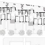 Die scheinbaren Reihenhausgrenzen werden im EG des Gartenhauses aufgebrochen. Die beiden 4-Zimmerwohnungen erstrecken sich über alle drei versetzt angeordneten Kuben. Grafik: Anne Lampen Architekten BDA