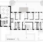 Die beiden Wohngemeinschaften im EG und 1. OG bieten Zimmer für Schlaganfallpatienten mit entsprechender Ausstattung. Grafik: Anne Lampen Architekten BDA