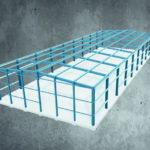 Modell: Stahlgerüst einer Lager-/Produktionshalle