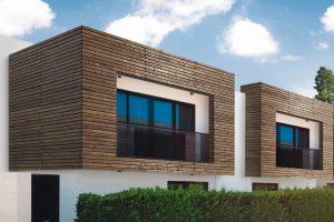Holz-Veredelung mit optischer Verkohlung für Fassaden. Bild: Mocopinus