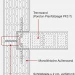 An der monolitischen Außenwand verhindert ein mit Mineralfasern gefüllter Schlitz Schallübertragungen. Er reicht von der Mitte der eingebundenen Trennwand bis zum Außenputz, wo er mit Putzprofilen und elastischem Füllstoff ausgebildet wird. Zeichnung: Wienerberger