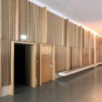 Hörsaal-Flurwände mit Lamellen aus Eichenholz in der Fachhochschule in Muttenz von pool Architekten