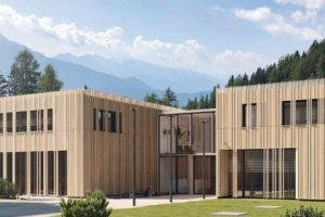 Dreidimensionale Holzfassade für den Objektbau. Bild: Mocopinus