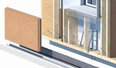 Komponenten des Gutex-Fassaden-Dämmsystems sind u.a. eine Holzfaserdämmplatte und eine Holzfasereinblasdämmung.