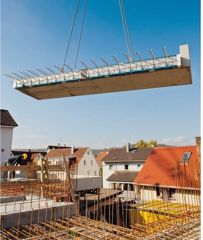 Wärmebrücken auf Minimum reduziert dank Glasfaser-Zugstäben. Bild: Schöck Bauteile GmbH