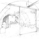 TV-Lounge im Keller. Zeichnung: Innenarchitekt Eugen Gehring, Berlin