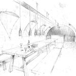 Festsaal im Keller. Zeichnung: Innenarchitekt Eugen Gehring, Berlin