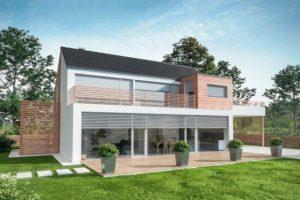 Computermodell Einfamilienhaus mit Garten