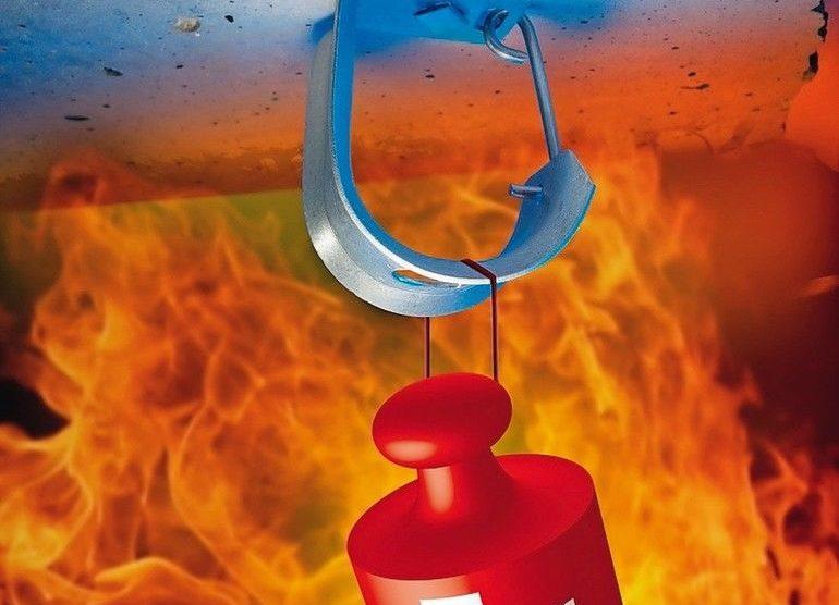 Schaubild einer Befestigungsklammer mit Belastungsdaten unter Brandeinwirkung, Schnabl Stecktechnik GmbH