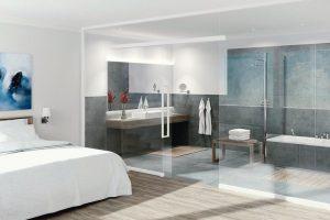 """Das Trennwand-System """"Uniquin"""" spielt seine Vorteile insbesondere dort aus, wo es gilt, Raum und Tageslicht effizient zu nutzen, beispielsweise in Hotels. Bild: dormakaba"""