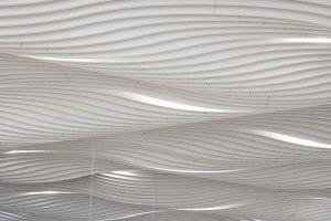 Schallabsorber: Wogende Wellen erweitern Formenrepertoire in der Deckengestaltung. Bild: Ecophon