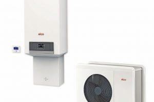 """Das Hybridsystem """"Aerotop Hybrid Mini"""" vereint zwei Wärmequellen: die Luft-Wasser-Wärmepumpe """"Aerotop Mono"""" sowie den Gas-Brennwertkessel """"Thision Mini""""."""