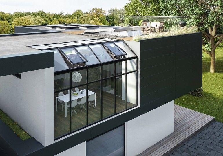 """Der neue Lüftungsflügel """"PR60"""" ist nicht nur in das Lamilux Glasdach """"PR60"""" integrierbar, sondern auch in sämtliche anderen am Markt erhältlichen Pfosten-Riegel-Systeme für den Dachbereich. Bild: Lamilux"""