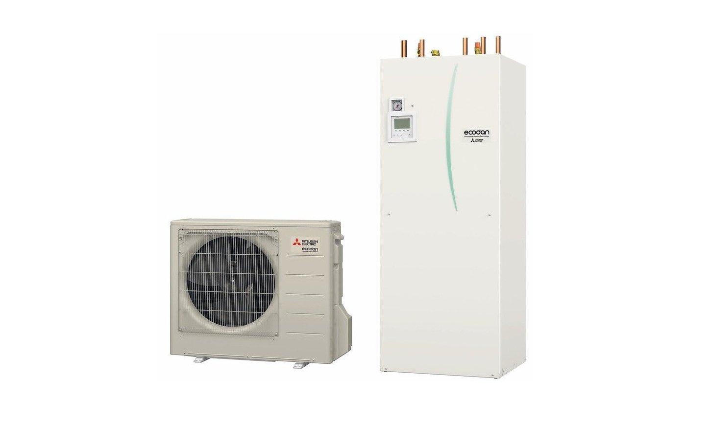 Luft/Wasser-Wärmepumpe für Heizung und Warmwasser. Bild: Mitsubishi Electric