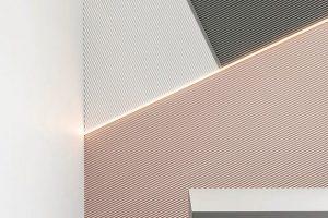 Die Wandelemente W108 Zigzag mit 3D-Raumeffekten gibt es in verschiedenen Formen – Romben, Trapez und Kuben (Rombus, Trapezium, Cubi). Bild: Orac