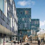 Die türkis–blau schimmernde Solarfassade mit 12000 PV-Modulen macht den Neubau zu einem der größten gebäudeintegrierten Solarkraftwerke Dänemarks. Bild: Adam Moerk