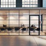 Konferenzraum mit Glastür und teilverglaster Seitenwand