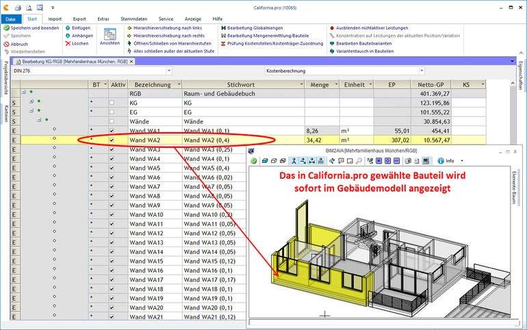 Liste in California.pro für Fertigbauteile im Gebäudebau. Bild: G&W Software AG