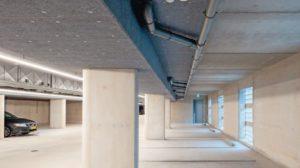 Tiefgarage/Parkhaus mit Deckenisolierung. Bild: Knauf Insulation GmbH