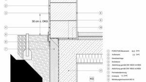 Ausbildung des Sockelbereiches mit Überstand der ersten Steinreihe bei nicht beheizten Kellerräumen. Quelle: Wienerberger.de/Detailzeichnungen
