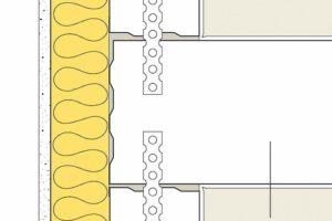 Sichere Ausführung bei flankierenden Bauteilen wie z.B. dem Bereich der Außenwand: Trennwand durchgehend, flankierende Bauteile stumpf angeschlossen. Zeichnung: UNIKA