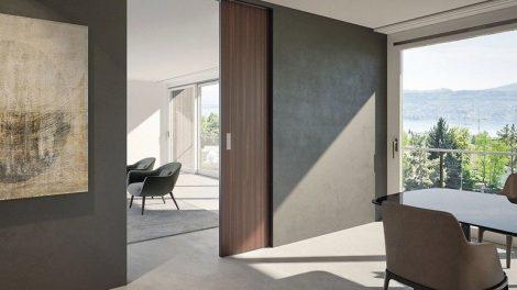 Holz- und Glastüren: Schiebebeschlag für Wandtaschenlösungen. Bild: Hawa Sliding Solutions AG
