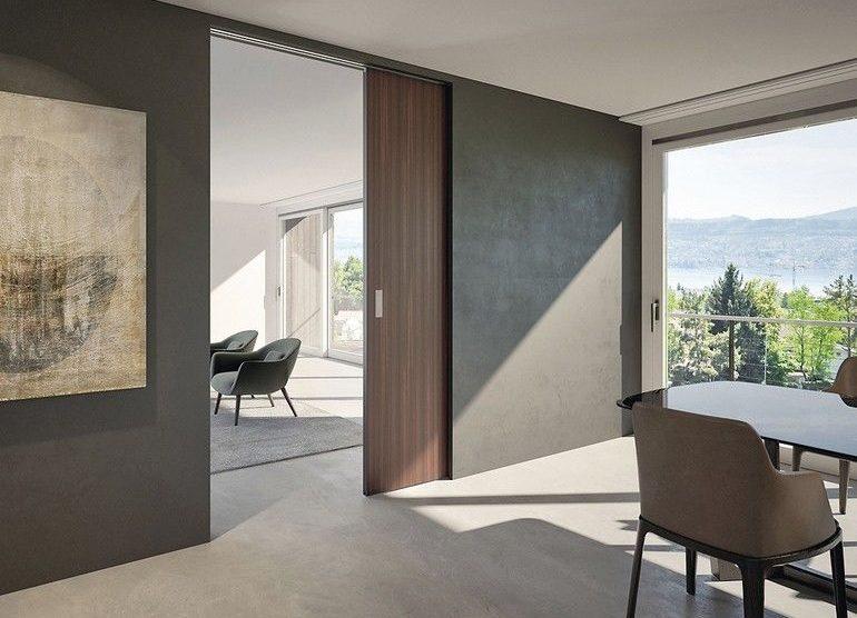 Holz- und Glastüren: Schiebebeschlag für Wandtaschenlösungen