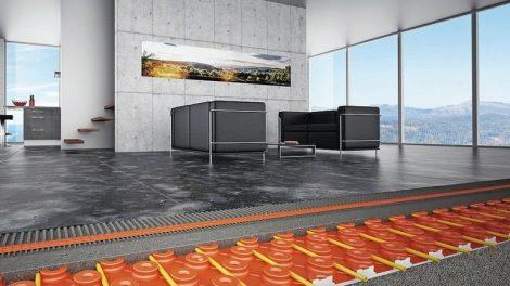 """Der wassergeführte Keramik-Klimaboden """"Schlüter-Bekotec-Therm"""" ist eine reaktionsschnelle und energiesparende Flächenheizung mit besonders niedrigem Aufbau. Bild: Schlüter"""
