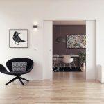 Modernes Wohnzimmer, offene Schiebetüren zum Esszimmer. Bild: Wingburg GmbH