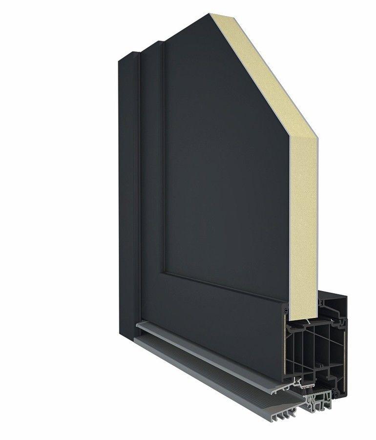 Querschnitt einer Haustür, schwarz