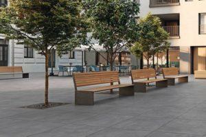Parkbänke mit Bäumen. Bild: Villeroy & Boch