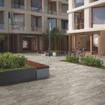 Modell eines Hofbereichs umgeben von Wohnhäusern. Bild: Villeroy & Boch