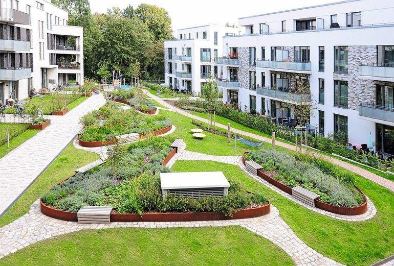 Elispenförmige Gartenbeete im Innenhof einer Wohnsiedlung.