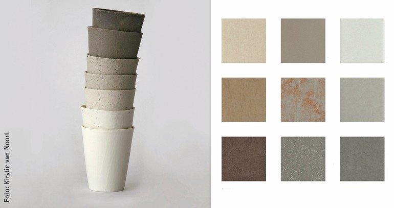 Gestapelte Töpfe mit nebenstehender Produkt-Farbpallette. Bild: Kirstie van Noort   DLW FLooring GmbH