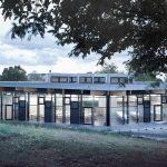 Furnierschichtholz für Platten und Träger als Dachkonstruktion: Die Hochschule Schwäbisch Gmünd erhielt ein scheinbar schwebendes Dach für die neue Mensa. Bild: Metsä Wood