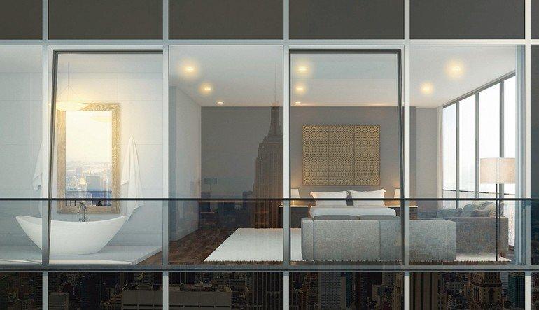Aluminiumfenster-System: Verdeckte Flügel und nicht sichtbarer Fenstergriff