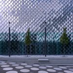 Die Fassade des Futuriums besteht aus mehreren Tausend rautenförmig angeordneten Kassettenelementen mit Metallreflektoren und keramisch bedrucktem Gussglas. Bild: Arup/Rossmann, Berlin