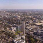 An einem Apartment-Hochhaus in London kamen vorgefertigte und gleichzeitig individualisierte Fassadenelemente aus Glas und Keramik zum Einsatz. Bild: Wadsworth 3D architectural visualisation