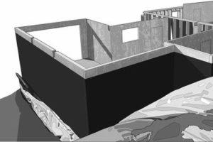 Abdichtung für erdberührte Bauteile mit EPDM-Dichtungsbahnen: Trockene Kellerräume müssen langfristig und sicher nach außen abgedichtet sein. Bild: Carlisle CM Europe