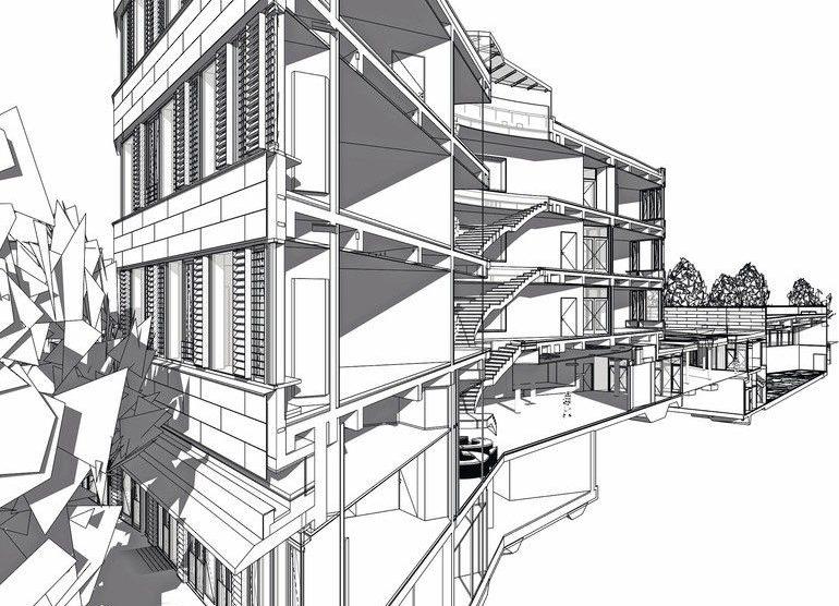 3D-Schnitte, wie hier bei einer Schule mit Sporthalle in München, nutzen h4a, um räumliche Zusammenhänge und konstruktive Notwendigkeiten darzustellen und abzustimmen. Bild: h4a Gessert + Randecker Generalplaner GmbH, München