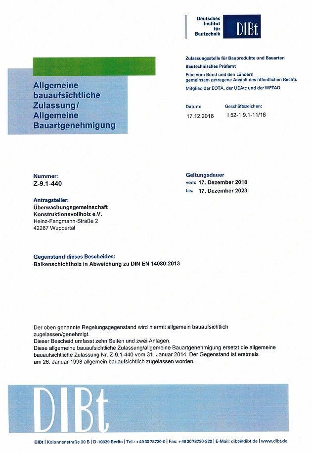 Balkenschichtholz mit Zulassung für 420 mm Höhe: Die aktuell überarbeitete Zulassung ergibt neue Möglichkeiten für Bauen mit Balkenschichtholz. Bild: Überwachungsgemeinschaft KVH e.V.