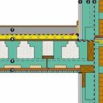 Wand-Decken-Knoten:❶ Zweilagen-Beplankung für REI-60 ❷ Tragendes Massivholz Wandbauteil Ligno Uni Q3/HL❸ Luftdichtheitsmembran➍ Dämmständer U*psi F-200 mit Holzfaser-Einblasdämmung Gutex Thermofibre❺ WDVS Gutex Thermowall mit Holzweichfaserplatte und Putz➏ Geschossweise vertikale Abschottung der Dämmebene➐ Estrich mit Fußbodenbelag❽ Trittschalldämmung (Mineralfaser) über Holzweichfaserplatte➒ Deckenbauteil Ligno Rippe Q3 Z2 mit Brandschutzlage➓ Endfertige Echtholzuntersicht (mit Akustikabsorber und Leistenprofil). Zeichnung: Lignotrend, Weilheim-Bannholz