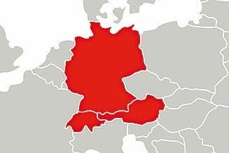Deutschsprachige Länder auf der Europakarte, rot eingezeichnet. Bild: Max Frank