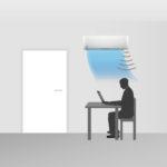 Entweder kann der Luftstrom auf die im Raum befindliche Person gelenkt werden...