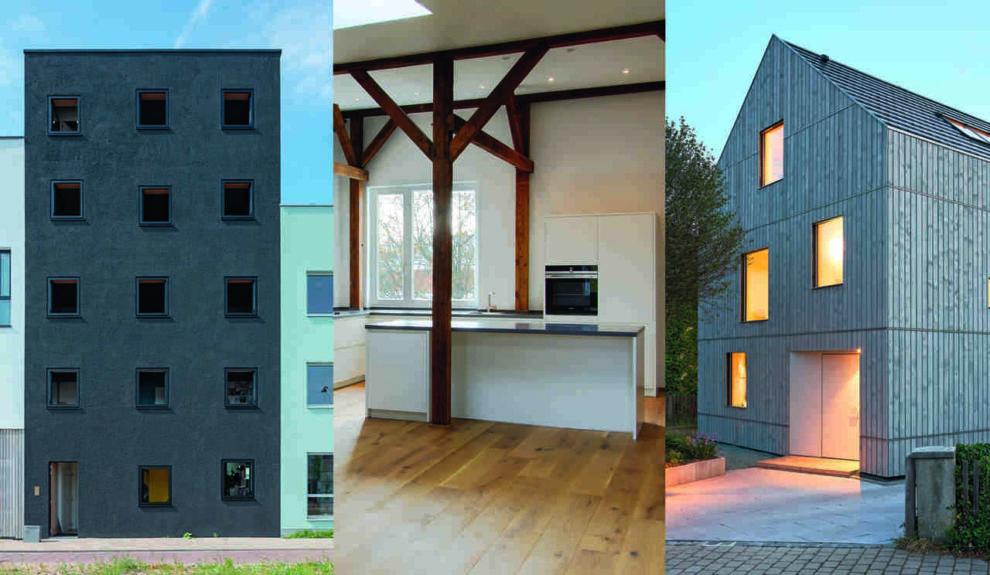 Mehrgenerationenhaus in Amsterdam, Dachgeschossausbau mit Holzbalken, Wohnhaus in Holzbauweise