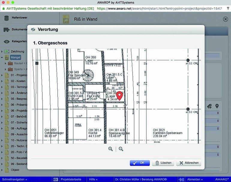 GrafischeVerortung in der AWARO Software vom AirlTSystems. Bild: AirITSystems