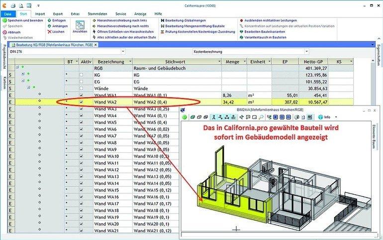 BIM-Software. Bild: G&W Software AG